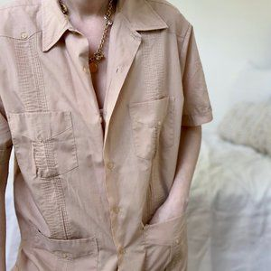 Vintage Tops - Vintage Guayabera Button Up Shirt Tunic